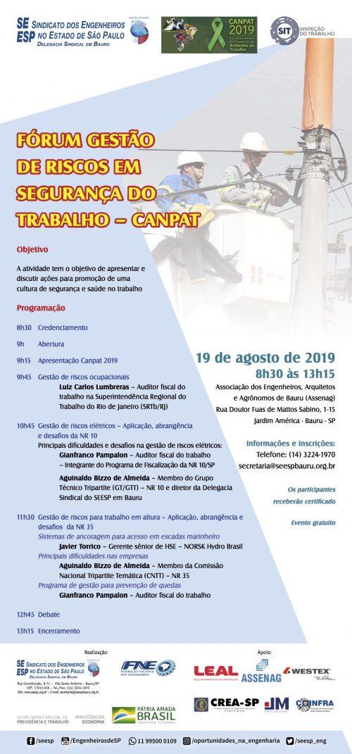 """Fórum """"Gestão de Riscos em Segurança do Trabalho – CANPAT"""" – 19/08/19"""