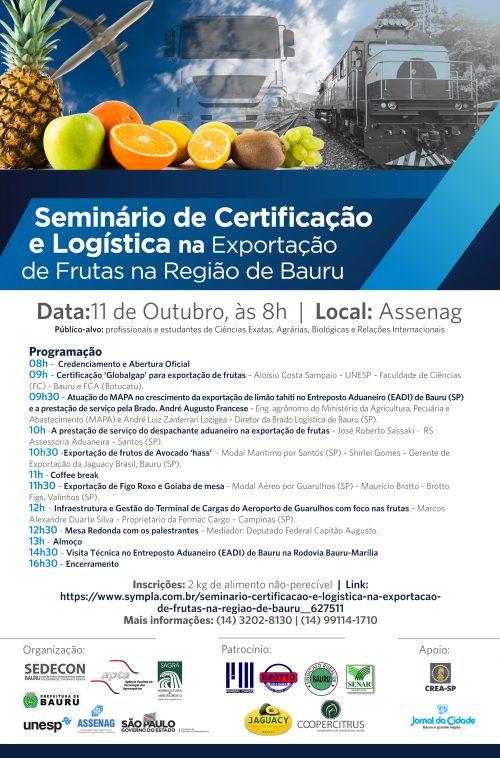 SEMINÁRIO DE CERTIFICAÇÃO E LOGÍSTICA NA EXPORTAÇÃO DE FRUTAS NA REGIÃO DE BAURU